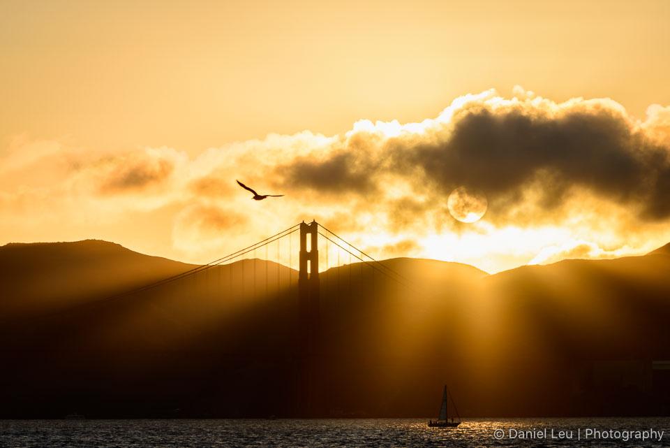Golden Golden Gate Bridge at Sunset