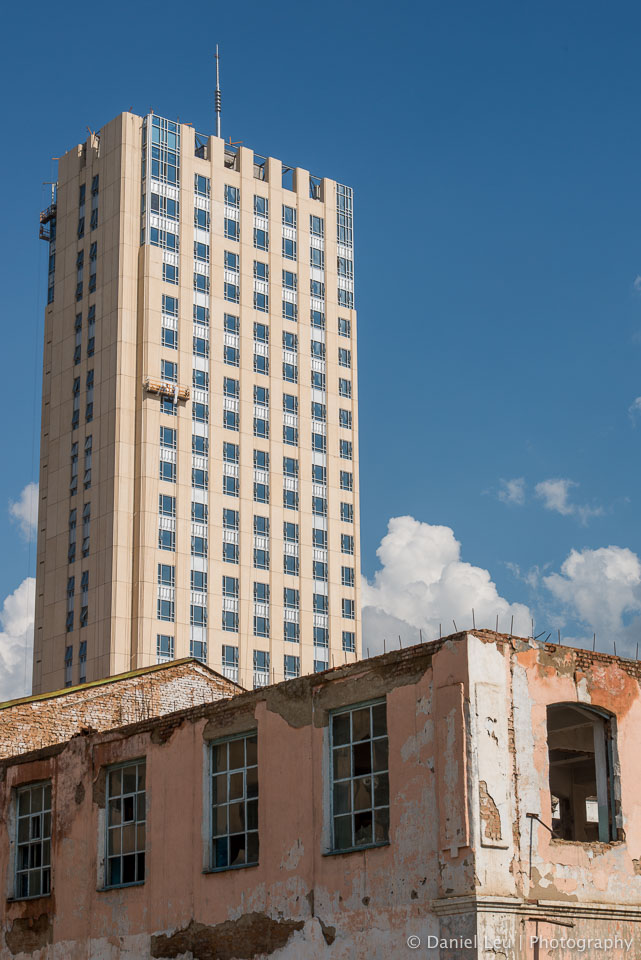 Old building in front of new skyscaper
